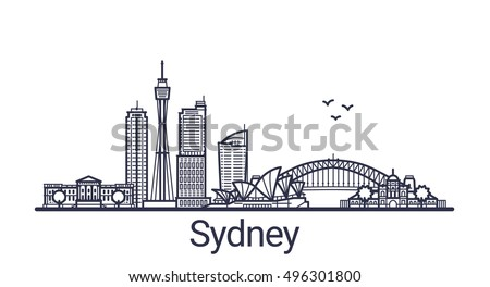 linear banner of sydney city