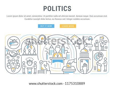 Linear banner of the politics. Vector illustration of the government functions. Election, debate, meeting.
