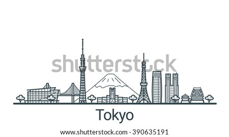 linear banner of tokyo city