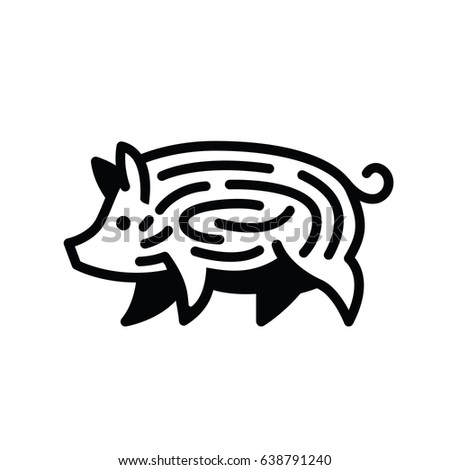 Linear black drawing of pig swine - for stylized icon or sign template