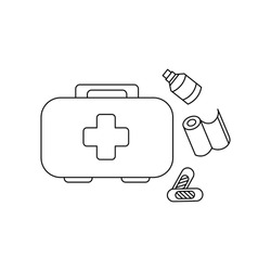 Linear black white first aid kit icon. Can be used as a sticker, symbol, sign. Simple stock vector illustration isolated on white background. Outline compact medical first aid for hiking and traveling