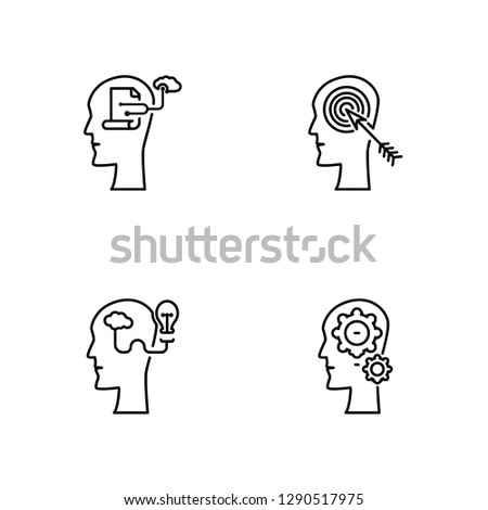 Linear Brain process, Brainstorm, Idea, Idea Vector Illustration Of 4 outline Icons. Editable Pack Of Brain process, Brainstorm, Idea, Idea