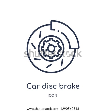 Linear car disc brake icon from Car parts outline collection. Thin line car disc brake vector isolated on white background. car disc brake trendy illustration