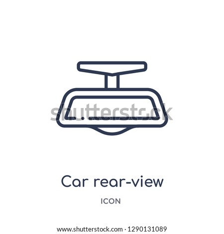 Linear car rear-view mirror icon from Car parts outline collection. Thin line car rear-view mirror vector isolated on white background. car rear-view mirror trendy illustration