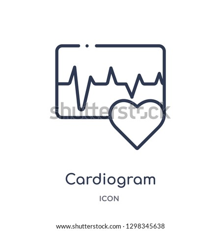 Linear cardiogram icon from Medical outline collection. Thin line cardiogram icon isolated on white background. cardiogram trendy illustration