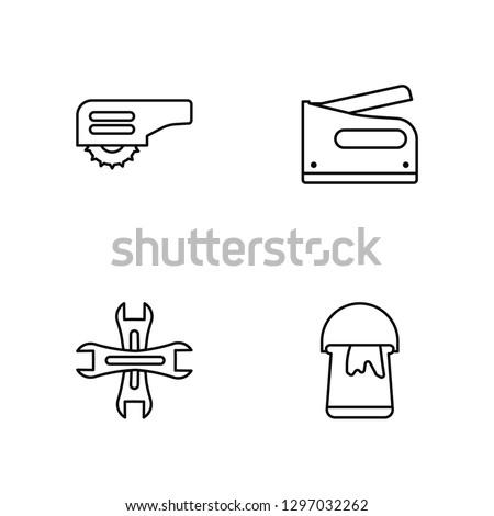 Linear Carpenter Cutter, Garage Wrench, Stapler, Open Paint Bucket Vector Illustration Of 4 outline Icons. Editable Pack Of Carpenter Cutter, Garage Wrench, Stapler, Open Paint Bucket