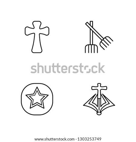 Linear Catholicism, Bahai, Paganism, Mantle Vector Illustration Of 4 outline Icons. Editable Pack Of Catholicism, Bahai, Paganism, Mantle