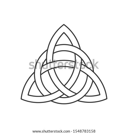 Linear Celtic trinity knot. Triquetra symbol interlaced with circle. Ancient ornament symbolizing eternity. Infinite loop sign interlocking with circle. Interconnected loops make trefoil. Vector.