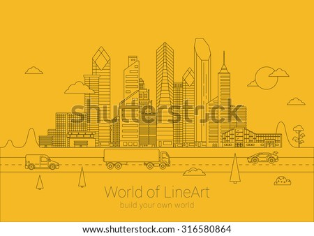 linear cityscape business