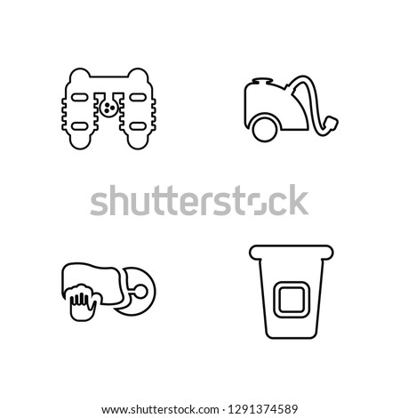 Linear Clean cars, Clean dishes, Vacuum, Recycle Vector Illustration Of 4 outline Icons. Editable Pack Of Clean cars, Clean dishes, Vacuum, Recycle