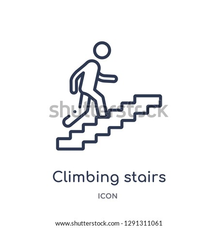 Linear climbing stairs icon from Behavior outline collection. Thin line climbing stairs vector isolated on white background. climbing stairs trendy illustration