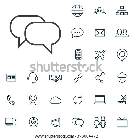 Linear communication icons set. Universal communication icon to use in web and mobile UI, communication basic UI elements set