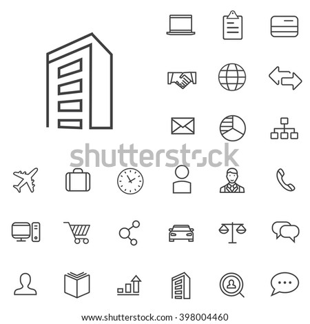 Linear company icons set. Universal company icon to use in web and mobile UI, company basic UI elements set
