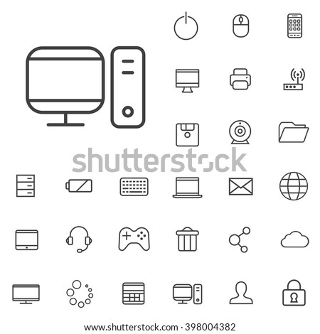 linear computer icons set