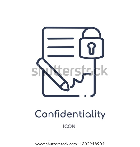 Linear confidentiality agreement icon from Human resources outline collection. Thin line confidentiality agreement icon isolated on white background. confidentiality agreement trendy illustration
