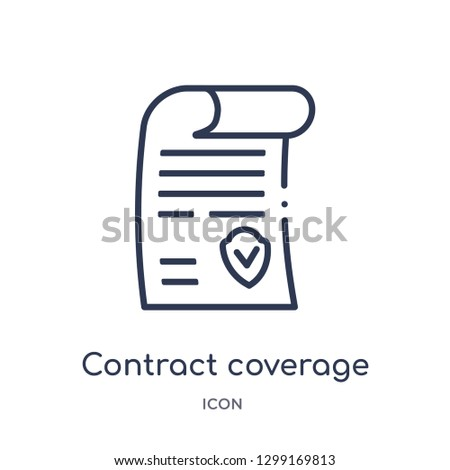Linear contract coverage icon from Insurance outline collection. Thin line contract coverage icon isolated on white background. contract coverage trendy illustration