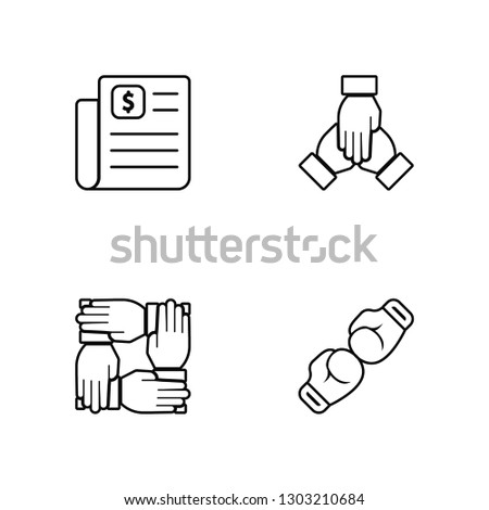 Linear Contract, Teamwork, Teamwork, Fight Vector Illustration Of 4 outline Icons. Editable Pack Of Contract, Teamwork, Teamwork, Fight
