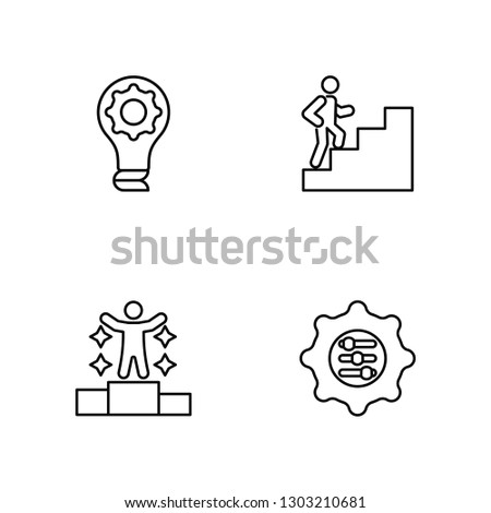 Linear Creativity, Success, Success, Adaptation Vector Illustration Of 4 outline Icons. Editable Pack Of Creativity, Success, Success, Adaptation