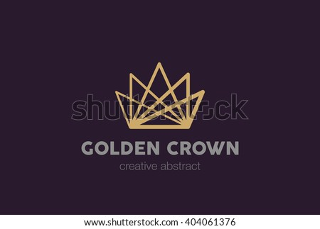 Linear Crown abstract Logo design vector template. Creative Business Logotype concept icon.