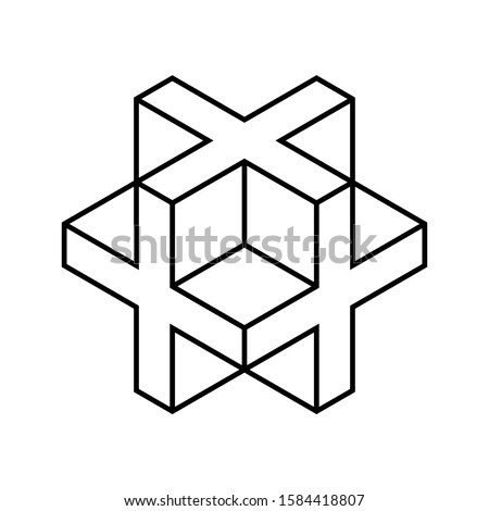 Linear 3D cross or plus sign. Isometric cube shape made of crosses. Necker cube figure outline. Abstract geometric object. Sacred geometry. Line drawing logo design. Vector illustration, clip art.