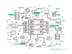 Linear data center (server park, hosting) vector illustration. Data center (network equipment, hosting storage, database technology) creative concept. Data center (infrastructure) graphic design.