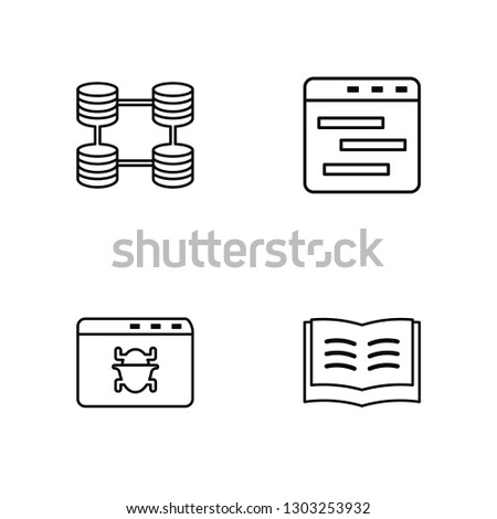 Linear Database, Browser, Browser, Open book Vector Illustration Of 4 outline Icons. Editable Pack Of Database, Browser, Browser, Open book