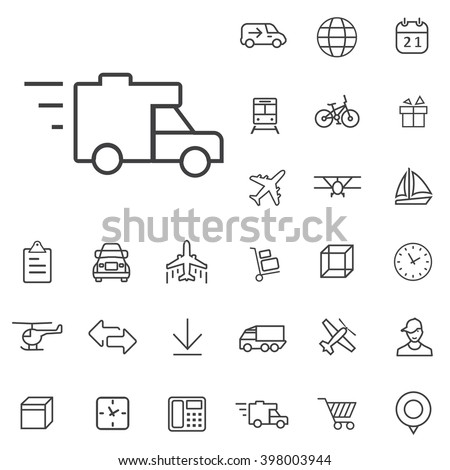 Linear delivery icons set. Universal delivery icon to use in web and mobile UI, delivery basic UI elements set