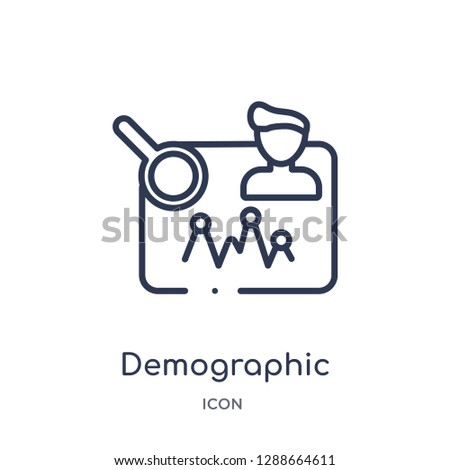 Linear demographic icon from Artifical intelligence outline collection. Thin line demographic vector isolated on white background. demographic trendy illustration