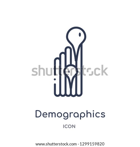 Linear demographics icon from Maps and locations outline collection. Thin line demographics icon isolated on white background. demographics trendy illustration
