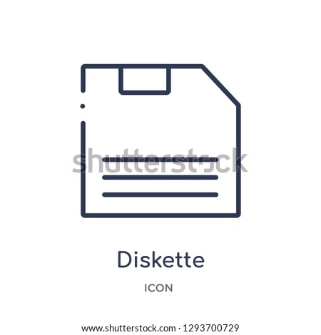 Linear diskette icon from Edit outline collection. Thin line diskette icon vector isolated on white background. diskette trendy illustration