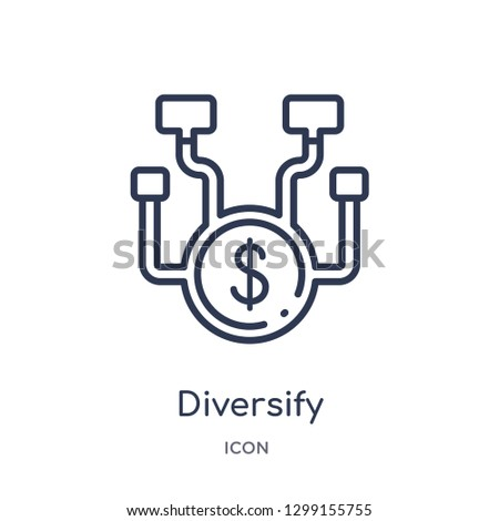 Linear diversify icon from Marketing outline collection. Thin line diversify icon isolated on white background. diversify trendy illustration Stock photo ©