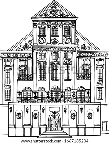 Linear drawing of a fragment of the Belarusian castle of Nesvizh. Architecture Of Belarus. Vector illustration in linear form. Coloring book for children and adults.