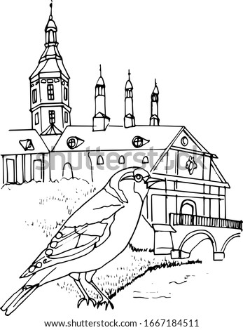 Linear drawing of a Goldfinch on the background of the Belarusian castle of Nesvizh. Architecture Of Belarus. Vector illustration in linear form. Coloring book for children and adults.