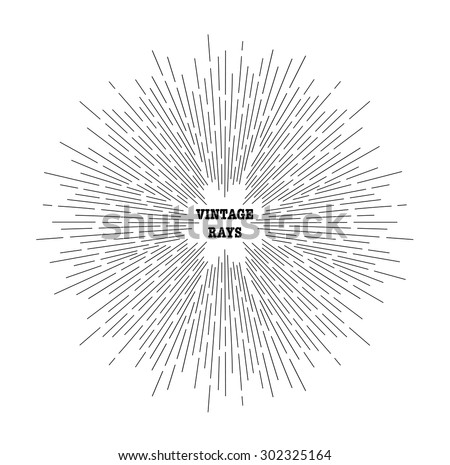 Linear drawing of rays of the sun. Vintage style of the image. Design elements for your projects. Hipster style. Light rays of burst. Rays radiating from a central object or source of light.