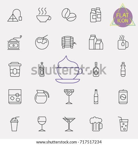 Linear drinks icons set. Universal drinks icon to use in web and mobile UI, drinks basic elements set