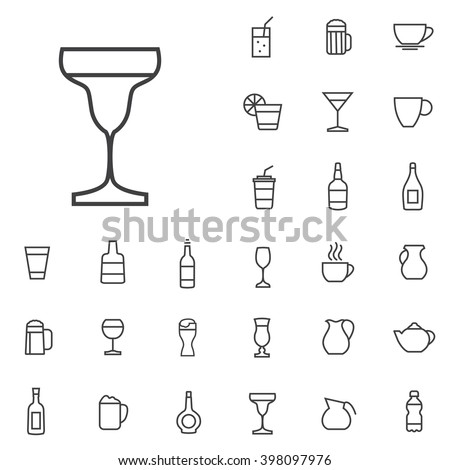 Linear drinks icons set. Universal drinks icon to use in web and mobile UI, drinks basic UI elements set