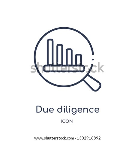 Linear due diligence icon from Human resources outline collection. Thin line due diligence icon isolated on white background. due diligence trendy illustration Foto stock ©