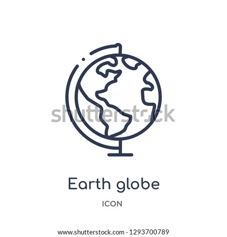 Linear earth globe icon from Education outline collection. Thin line earth globe icon vector isolated on white background. earth globe trendy illustration