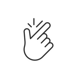 linear easy gesture icon. concept of popular funny symbol to make flicking fingers, meaning everything is fine, eureka, no problem. graphic design arm of human. black simple sign on white background