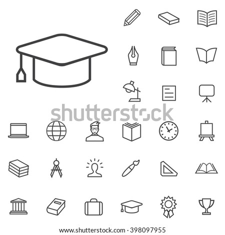 Linear education icons set. Universal education icon to use in web and mobile UI, education basic UI elements set