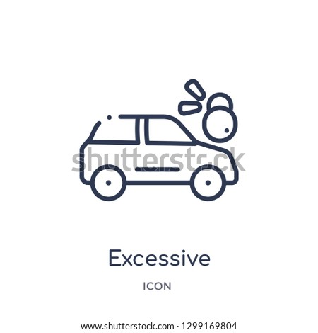 Linear excessive weight for the vehicle icon from Insurance outline collection. Thin line excessive weight for the vehicle icon