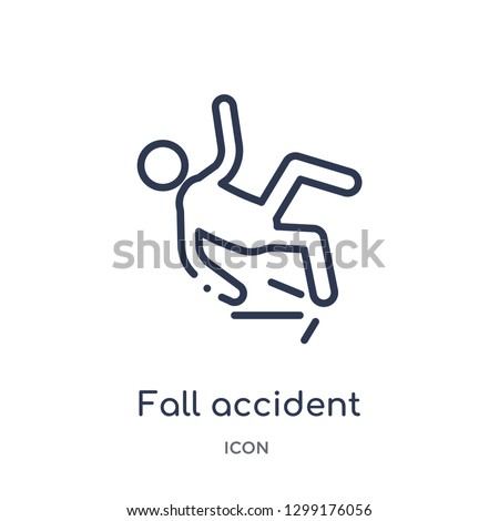 linear fall accident icon from