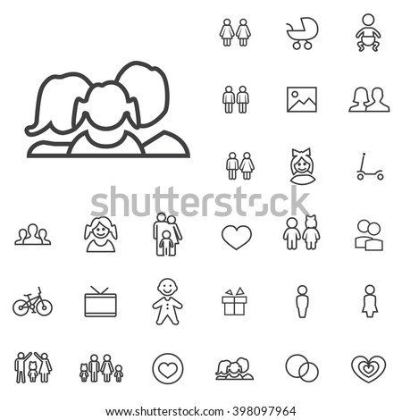 Linear family icons set. Universal family icon to use in web and mobile UI, family basic UI elements set