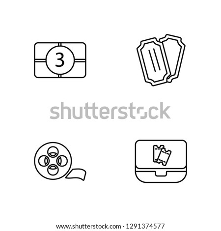 Linear Film counter, Film Reel, Tickets, Buy Tickets Online Vector Illustration Of 4 outline Icons. Editable Pack Of Film counter, Film Reel, Tickets, Buy Tickets Online