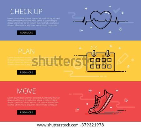 Linear fitness literacy web banners vector set. Line ecg heart, training calendar, sneaker. Design set of graphic outline banners illustration