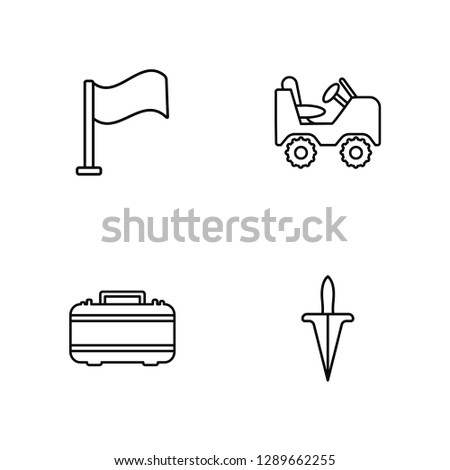 Linear Flag, First aid, Military vehicle, Dagger Vector Illustration Of 4 outline Icons. Editable Pack Of Flag, First aid, Military vehicle, Dagger