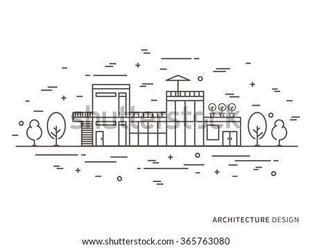 Linear flat architecture landscape illustration of modern designer house (mansion, homestead) with windows, door, stairs, trees. Outline vector graphic concept of architecture landscape design.