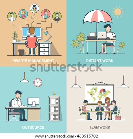 Linear Flat Business people at work vector illustration set. Outsourcing, Teamwork, Distant work, Remote management business concepts.