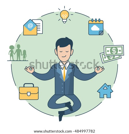 linear flat businessman