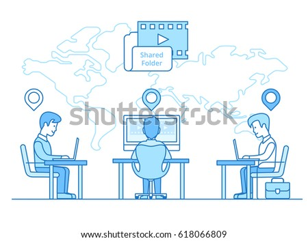 Linear Flat Businessmen sitting on their distant working places with GEO location marks, map background with direction lines vector illustration. Business communication globalization concept.